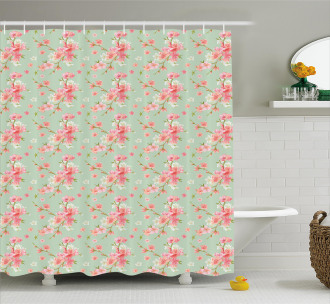Retro Spring Blossoms Shower Curtain