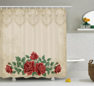 Vintage Love Red Roses Shower Curtain