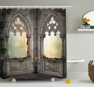Oriental Rose and Flower Shower Curtain
