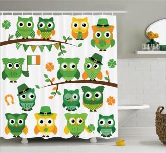 Irısh Owls Shower Curtain