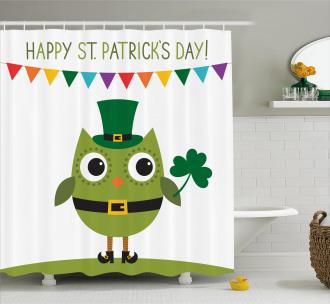 Owl Shamrock Shower Curtain