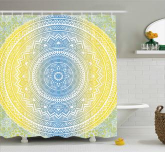 Blue Ombre Mandala Shower Curtain