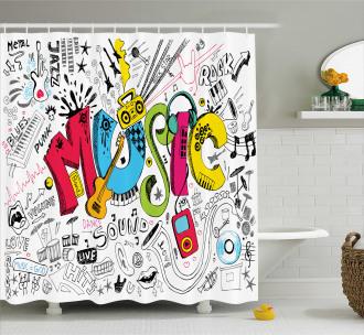 Pop Art Doodle Style Art Shower Curtain