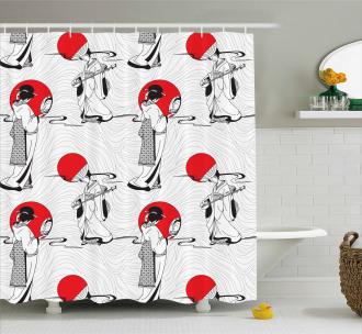 Modern Japanese Artful Shower Curtain