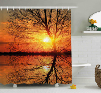 Sunset View with Trees Shower Curtain