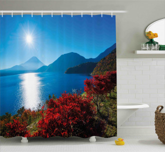 Sunny Autumn Mountain Shower Curtain