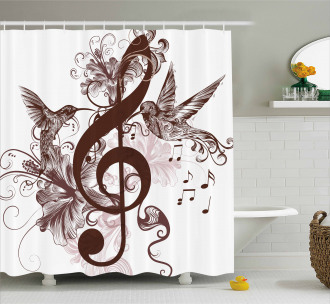 Floral Design with Birds Shower Curtain