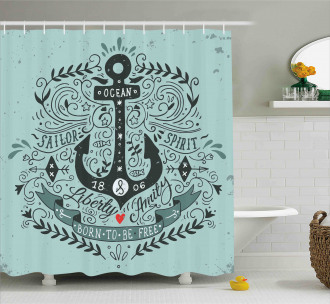 Vintage Label and Anchor Shower Curtain