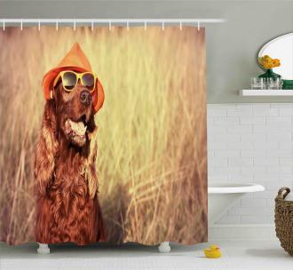 Animal Shower Curtain Dog Wearing Hat Glasses Print For Bathroom