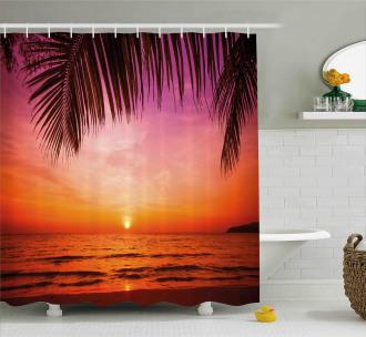 Coconut Palm Tree Leaf Shower Curtain