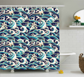Ocean Waves Pattern Shower Curtain
