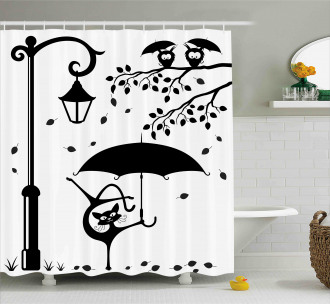 Funny Kitty with Umbrella Shower Curtain