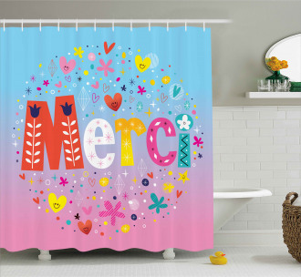 French Quote with Hearts Shower Curtain