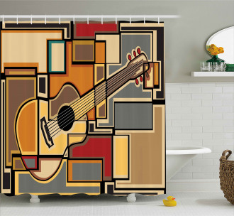 Geometric Guitar Funky Shower Curtain