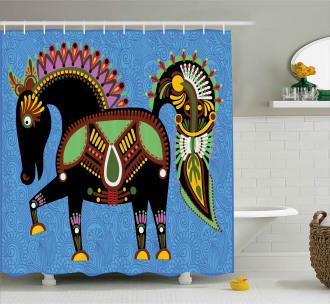 Folkloric Animal Figure Shower Curtain