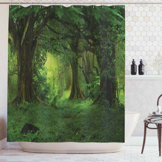 Tropical Jungle Trees Shower Curtain