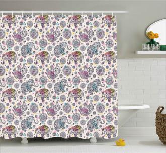 Oriental Folk Ethnic Design Shower Curtain