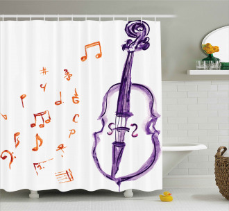 Musical Note Black Theme Shower Curtain