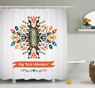 Ethnic Design and Quote Shower Curtain