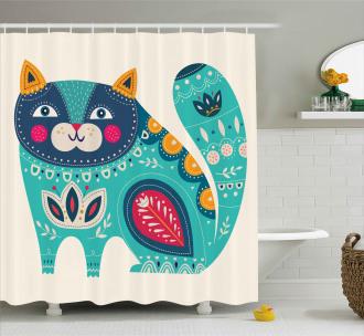 Paisley Style Cat Kitten Shower Curtain