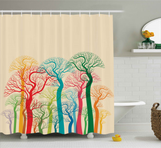 Colorful Abstract Trees Shower Curtain