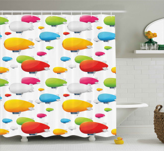 Colored Aviation Plane Shower Curtain