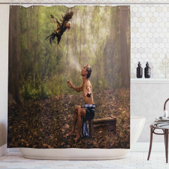 Asian Forest Birds Eco Shower Curtain
