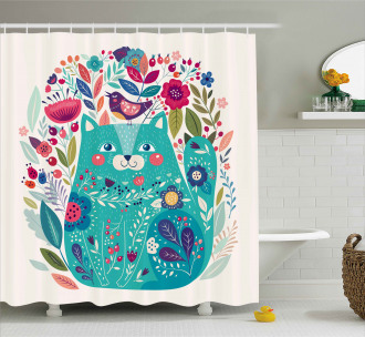 Kitty with Flower and Bird Shower Curtain
