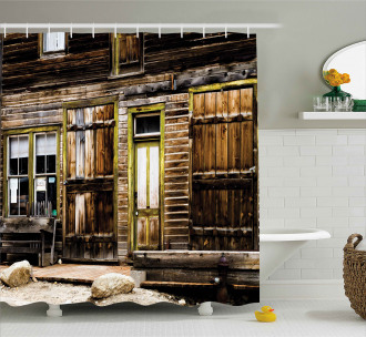 Wooden Planks and Rocks Shower Curtain