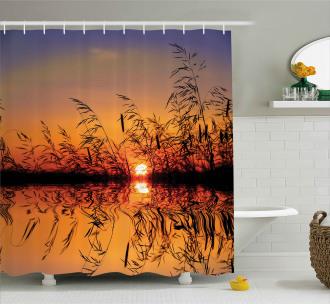 Lake Sunset Photo Scene Shower Curtain