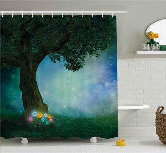 Magical Forest Night Shower Curtain