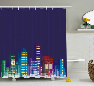 City at Night Cartoon Shower Curtain
