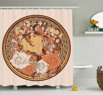 Hippie Girl Floral Shower Curtain