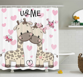 Baby Giraffes and Hearts Shower Curtain