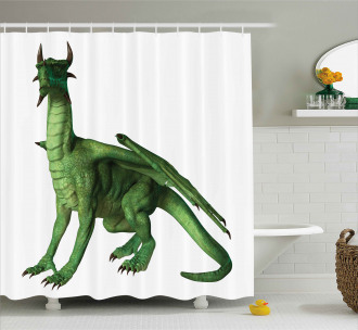 Ugly Cute Standing Dragon Shower Curtain