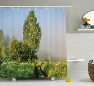 Path with Trees Flowers Shower Curtain