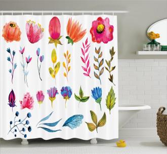 Watercolor Garden Design Shower Curtain