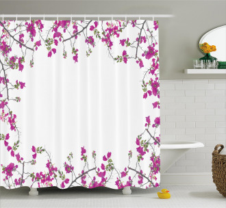 Leaves Buds and Branches Shower Curtain
