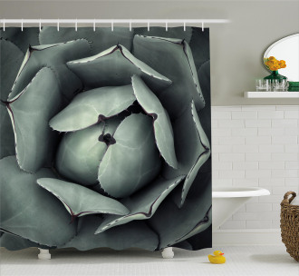 Flourishing Grey Cactus Shower Curtain