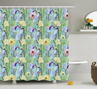 Cactus Buds Types Pattern Shower Curtain