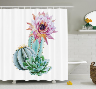 Cactus Flower and Spike Shower Curtain