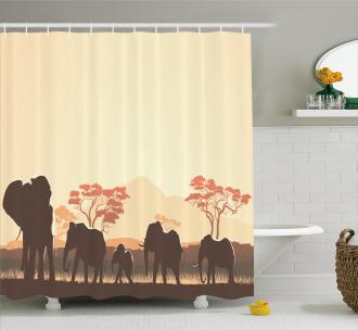 Safari Animal Elephant Shower Curtain