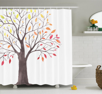 Forest Trees with Leaves Shower Curtain