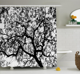 Spooky Black Tree Branch Shower Curtain
