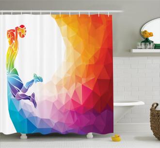 Basketball Player Jumps Shower Curtain