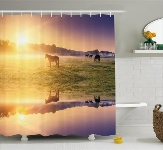 Horse Valley with Lake Shower Curtain