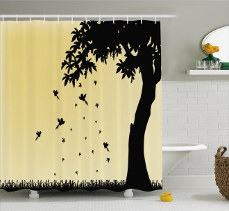 Tree with Falling Leaves Shower Curtain