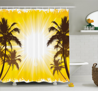 Place with Palm Trees Shower Curtain