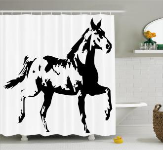 Running Horse Silhouette Shower Curtain