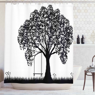 Flowers and Grass Garden Shower Curtain